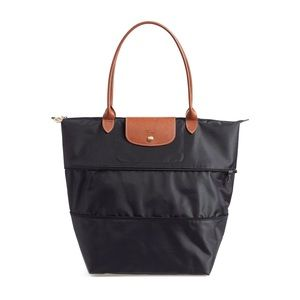 NWT Longchamp Le Pliage Expandable Tote Black RARE